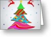 Chic Greeting Cards - Fashion Xmas Greeting Card by Atiketta Sangasaeng