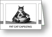 Poster Greeting Cards - Fat Cat Capsizing Greeting Card by Richard Watherwax