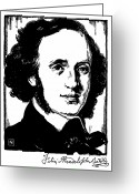 Autograph Greeting Cards - Felix Mendelssohn Greeting Card by Granger