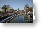 Anaheim California Greeting Cards - Ferris Wheel and Roller Coaster - Paradise Pier - Disney California Adventure - Anaheim California - Greeting Card by Wingsdomain Art and Photography