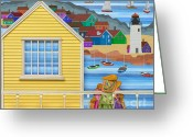 Little Girls Greeting Cards - Finally Home Greeting Card by Anne Klar