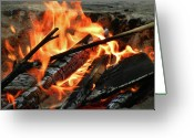 Dana Point Greeting Cards - Fire at the Beach III Greeting Card by Mariola Bitner