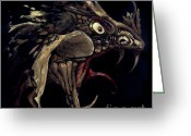 Black Glass Art Greeting Cards - Fire Dragon Greeting Card by Liz Molnar