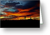 Saguaro Cactus Greeting Cards - Fire Sky  Greeting Card by Saija  Lehtonen
