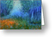 Interior Design Pastels Greeting Cards - Firefly Forrest Greeting Card by Jane Wilcoxson