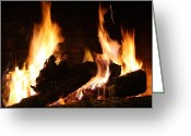 Fireplace Greeting Cards - FirePlace Greeting Card by Ginger Barritt
