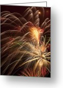 Night Time Greeting Cards - Fireworks in night sky Greeting Card by Garry Gay