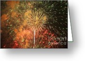 4th July Greeting Cards - Fireworks Greeting Card by Juan  Silva