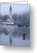 Lake Bohinj Greeting Cards - First dawn Greeting Card by Ian Middleton