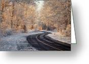Winter Road Greeting Cards - First Snow Greeting Card by Bill  Wakeley