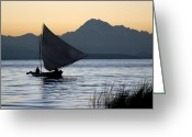 Andes Greeting Cards - Fisherman on Lake Titicaca. Republic of Bolivia. Greeting Card by Eric Bauer