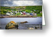 Cabins Greeting Cards - Fishing village in Newfoundland Greeting Card by Elena Elisseeva