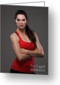 Beautiful Woman Greeting Cards - Fitness Greeting Card by Johan Larson