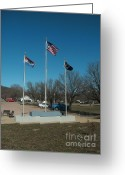 Pilot Knob Greeting Cards - Flags with Blue Sky Greeting Card by Kip DeVore