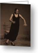 Gipsy Greeting Cards - Flamenco Dancer Greeting Card by Dan Haraga