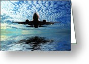 Flights Greeting Cards - Flight path 2 Greeting Card by Sharon Lisa Clarke