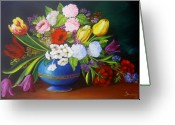 Dominica Alcantara Greeting Cards - Flowers in a Vase Greeting Card by Dominica Alcantara