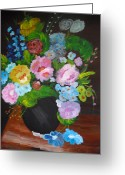 Brown Framed Prints Greeting Cards - Flowers Greeting Card by Suzanne Thomas