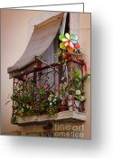 Curtain Greeting Cards - Flowery balcony Greeting Card by Carlos Caetano
