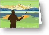 Illustration Greeting Cards - Fly Fisherman Casting Greeting Card by Aloysius Patrimonio