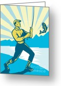 Illustration Greeting Cards - Fly Fisherman Fishing Retro Woodcut Greeting Card by Aloysius Patrimonio
