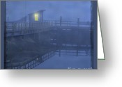 Shack Greeting Cards - Foggy pier Greeting Card by Jim Wright