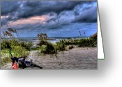 Beach Towel Photo Greeting Cards - Folly Beach at Dusk Greeting Card by Drew Castelhano