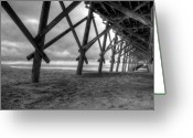 Folly Beach Lighthouse Greeting Cards - Folly Beach Pier Black and White Greeting Card by Dustin K Ryan