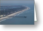 Historic Lighthouse Greeting Cards - Folly Beach South Carolina Aerial Greeting Card by Dustin K Ryan