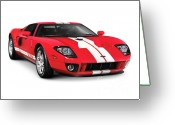 Red Sportscar Greeting Cards - Ford GT Supercar Greeting Card by Oleksiy Maksymenko