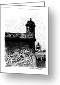 Puerto Rico Drawings Greeting Cards - Fort San Felipe del Morro Greeting Card by Angel Serrano