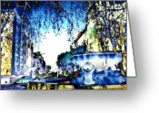 Digitally Processed Digital Art Greeting Cards - Fountain At Barbarossaplatz Greeting Card by Navo Art