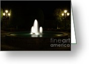 Long Street Greeting Cards - Fountain at night Greeting Card by Mats Silvan
