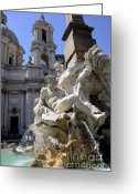 Statues Greeting Cards - Fountain. Piazza Navona. Rome Greeting Card by Bernard Jaubert