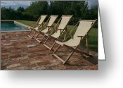 Pool Break Greeting Cards - Four Deck Chairs Await Visitors Greeting Card by Heather Perry