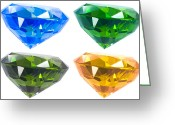 Transparent Green Greeting Cards - Four diamond Greeting Card by Atiketta Sangasaeng