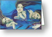 Waves Painting Greeting Cards - Fragments of longing  Greeting Card by Dorina  Costras