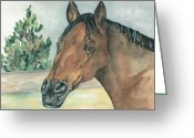 Equine Watercolor Portrait Greeting Cards - Frank Greeting Card by Kimberly Lavelle