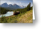 Canadian Rockies Greeting Cards - Freight Train Traveling On Morants Greeting Card by Zoltan Kenwell