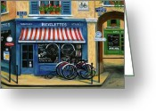 Flower Pots Greeting Cards - French Bicycle Shop Greeting Card by Marilyn Dunlap