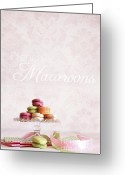Chic Greeting Cards - French macaroons on dessert tray Greeting Card by Sandra Cunningham