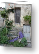 Staircase Greeting Cards - French Staircase With Flowers Greeting Card by Marilyn Dunlap