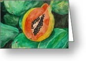 Estephy Sabin Figueroa Painting Greeting Cards - Fresh Papaya for Sale Greeting Card by Estephy Sabin Figueroa