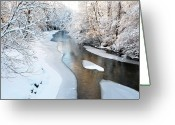 White River Scene Greeting Cards - Fresh Snowfall Greeting Card by Thomas R Fletcher