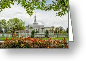 Mormon Temple Photography Greeting Cards - Fresno Temple Leaves Greeting Card by La Rae  Roberts