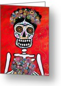 Cartera Greeting Cards - Frida Dia De Los Muertos Greeting Card by Pristine Cartera Turkus