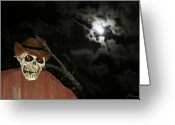 Frighten Greeting Cards - Fright Night 1 Greeting Card by Ellen Henneke