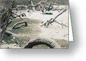 Freeze Greeting Cards - Frozen Fallen Sq Greeting Card by Andy Smy