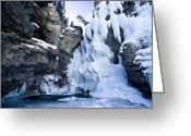 Johnston Greeting Cards - Frozen Lower Falls In Johnston Canyon Greeting Card by Zoltan Kenwell