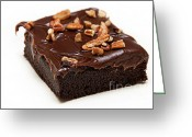 Chocolate Fudge Greeting Cards - Fudge Nut Brownie Greeting Card by Andee Photography